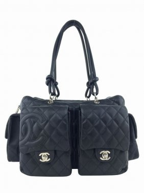 Chanel Ligne Cambon Quilted Large Reporter Bag Black