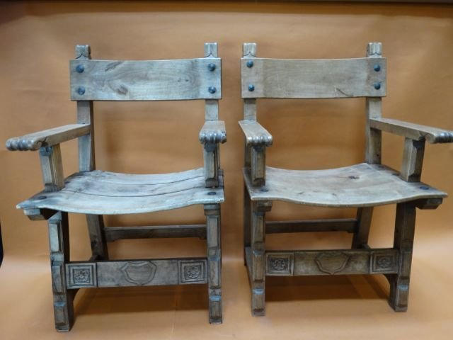 Mexican Colonial Spanish Chairs Pair
