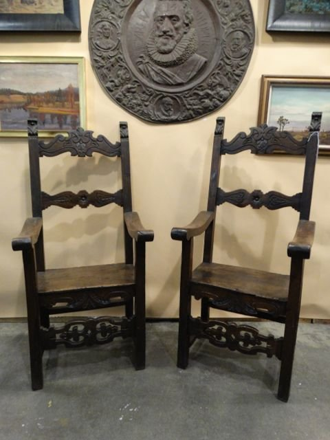Spanish Colonial 19th Century Highback Wood Chairs