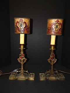 Solid Bronze Polychrome Table Lamps