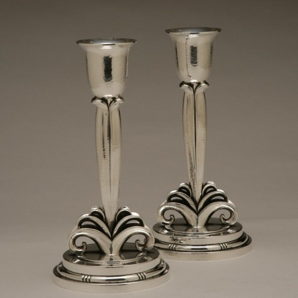 Evald Nielsen Sterling Silver Pair of Art Deco