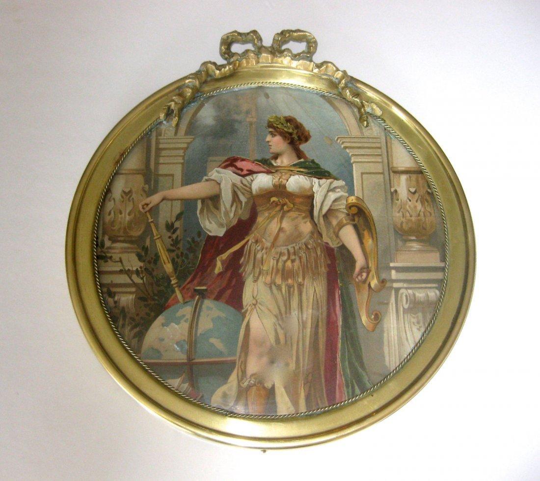 Antique Brass Round French Frame With Glass & Original