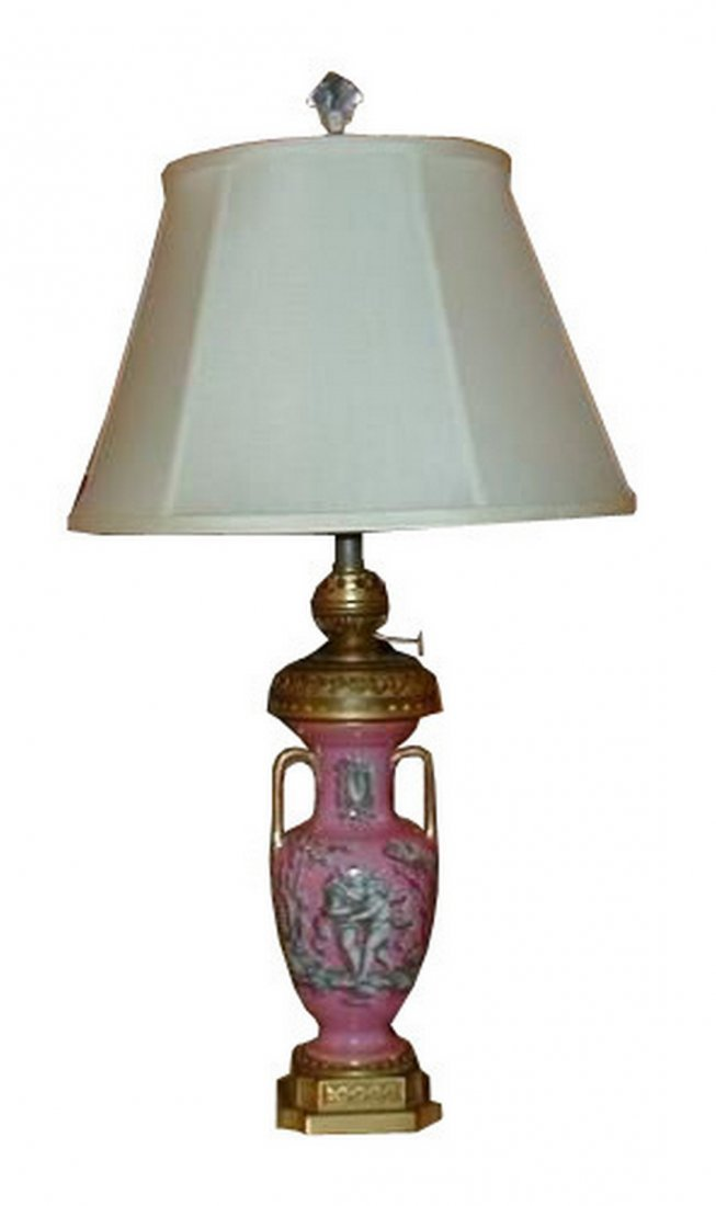 Antique Pink English Porcelain Angel Lamp by Hink &