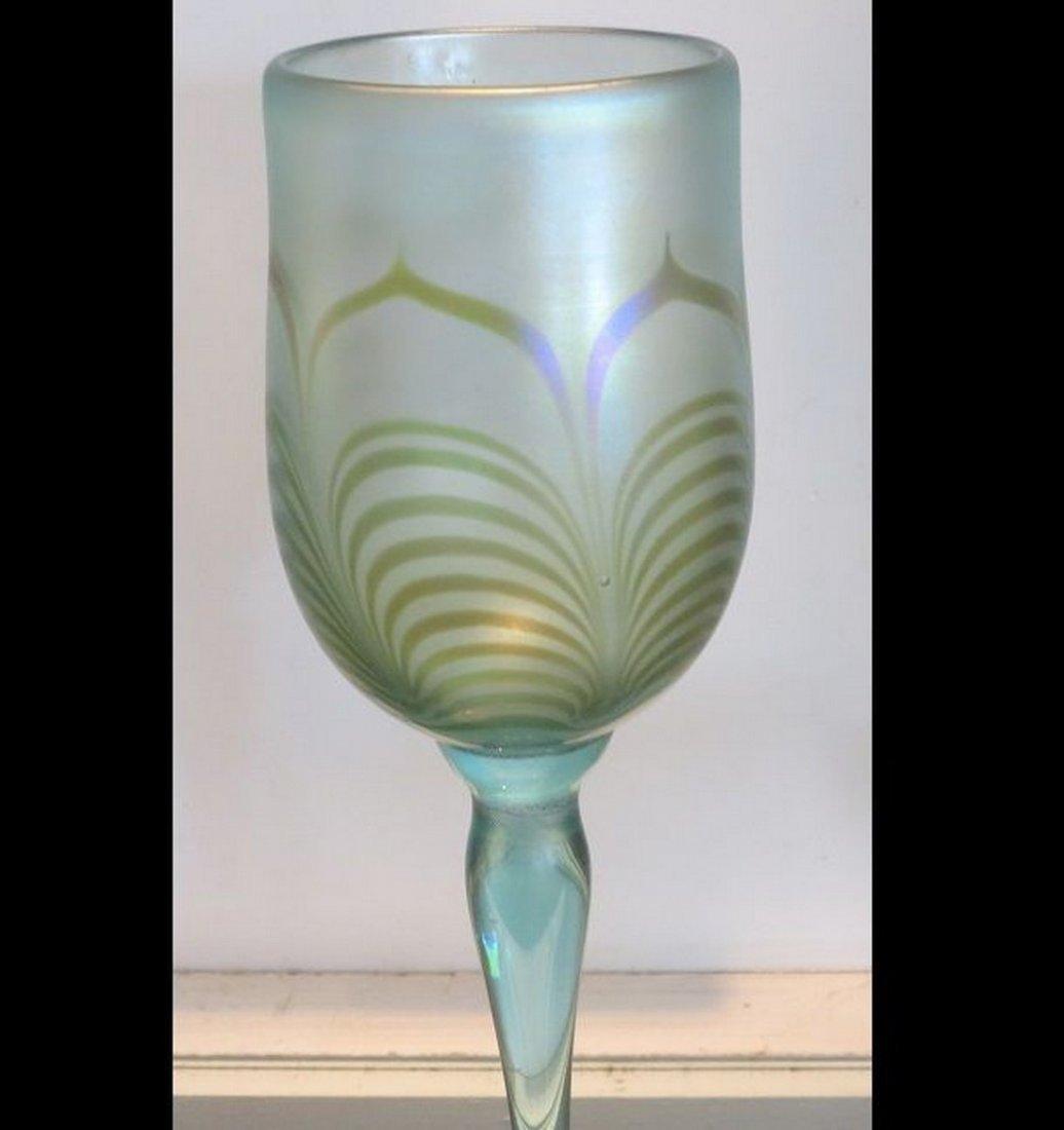 Unusual Signed Vandermark Studio Iridescent Glass Wine - 4