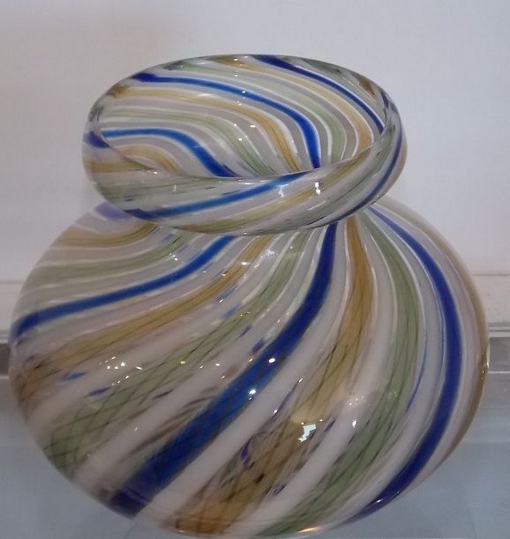 Unusual Antique Italian Venetian Art Glass Vase with - 3