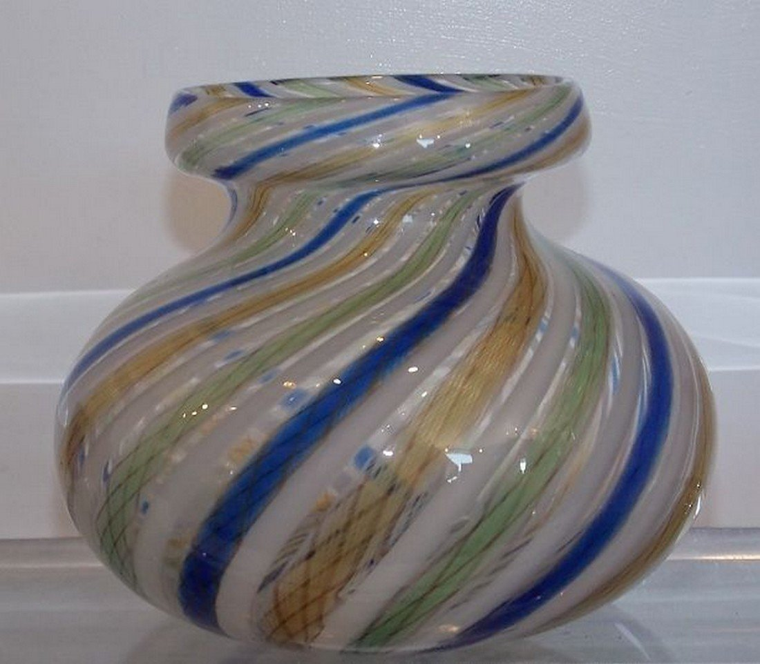 Unusual Antique Italian Venetian Art Glass Vase with - 4