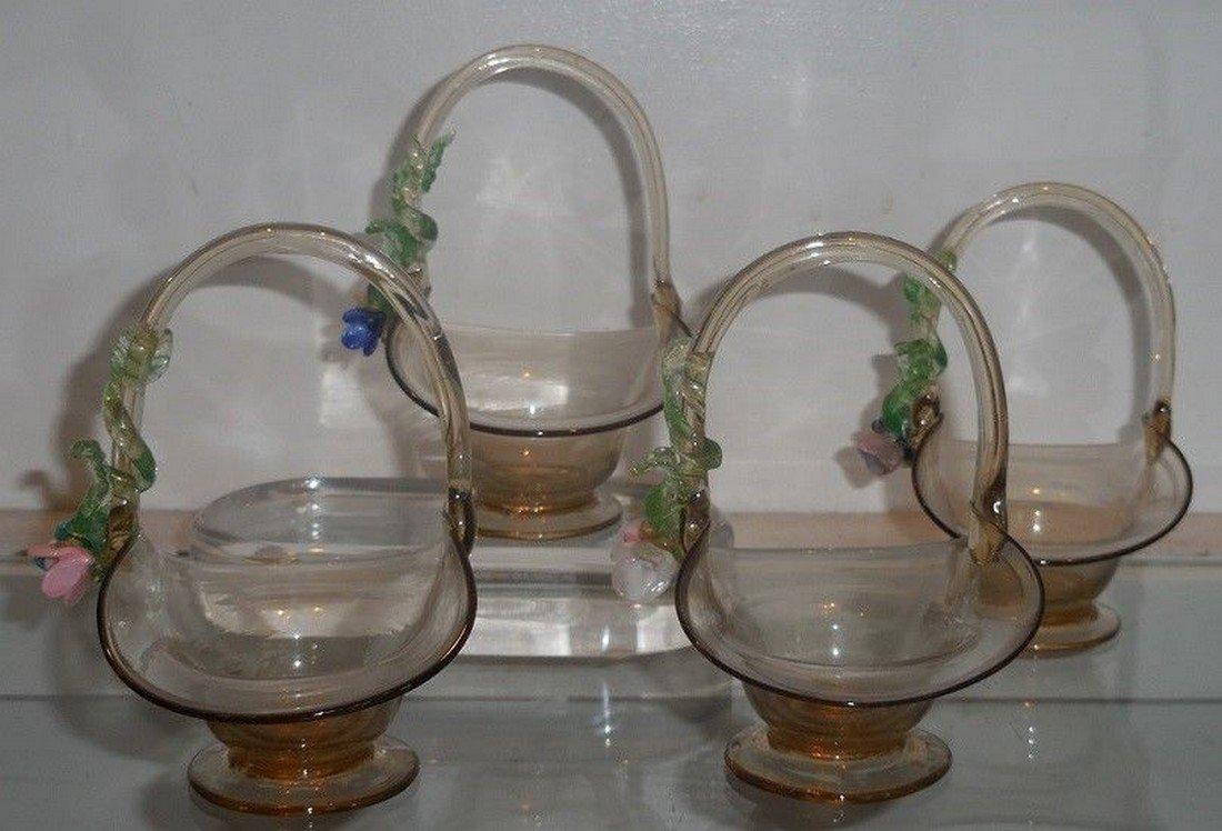 Set of 4 Antique Italian Amber Venetian Art Glass - 3