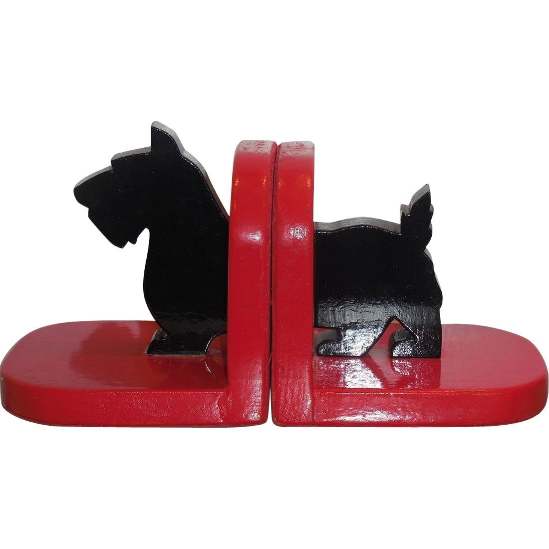 Antique Folk Art Painted Wood Cut Out Scotty Bookends