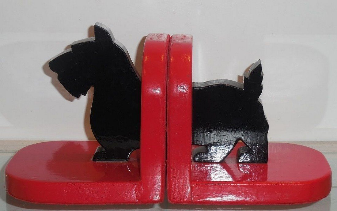 Antique Folk Art Painted Wood Cut Out Scotty Bookends - 2