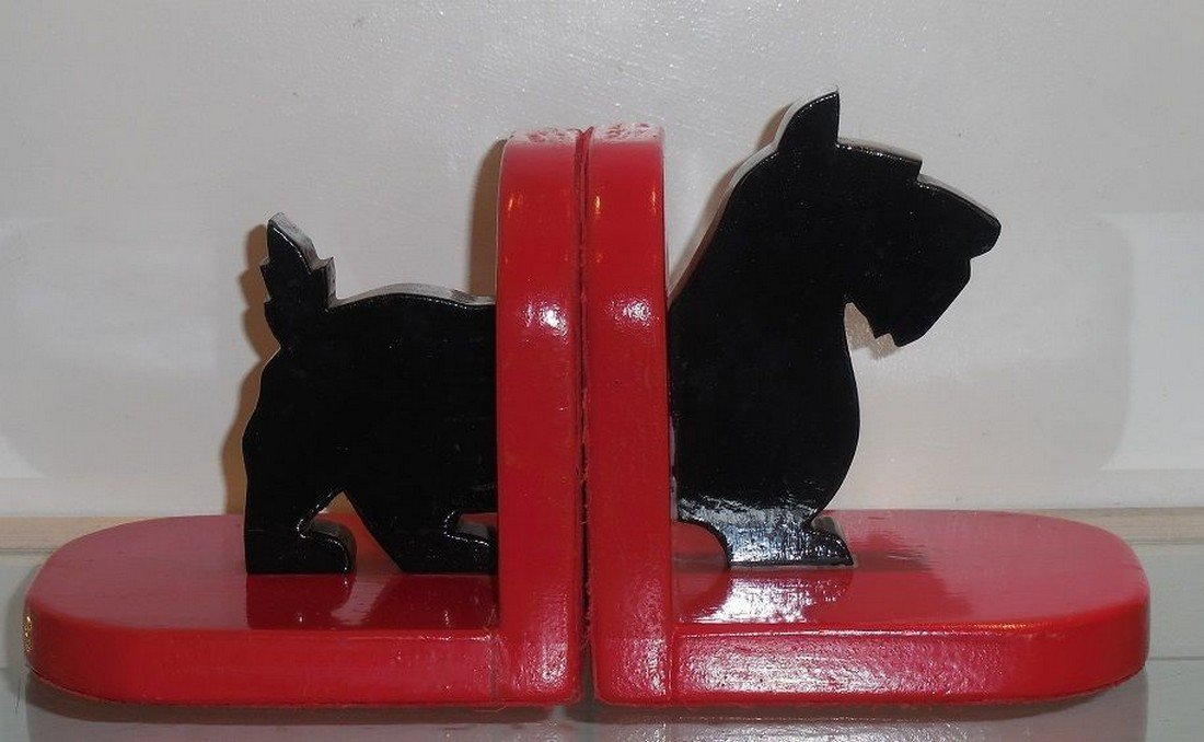 Antique Folk Art Painted Wood Cut Out Scotty Bookends - 3