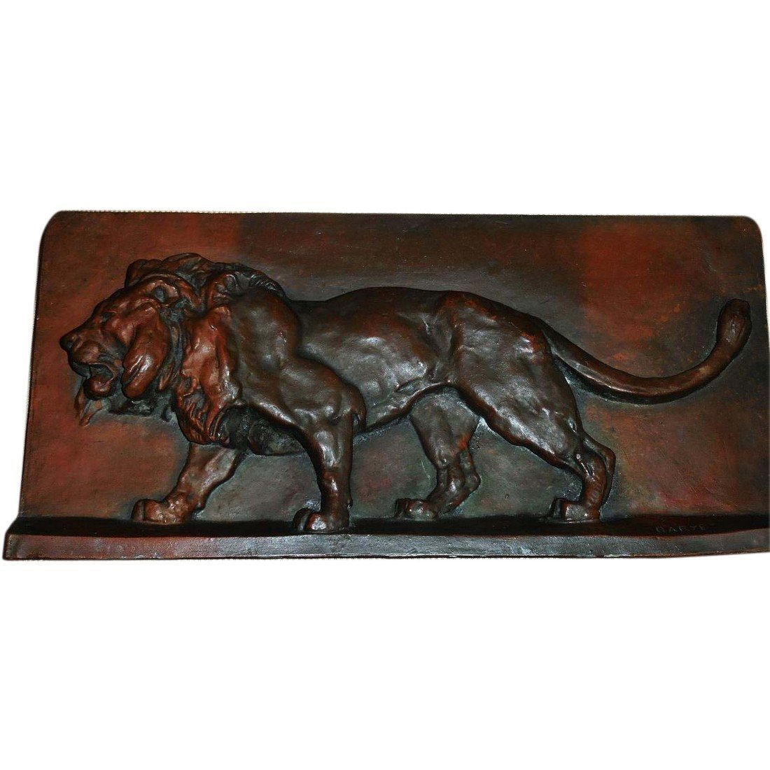 Big Antique French Bronze Lion Plaque by Barye