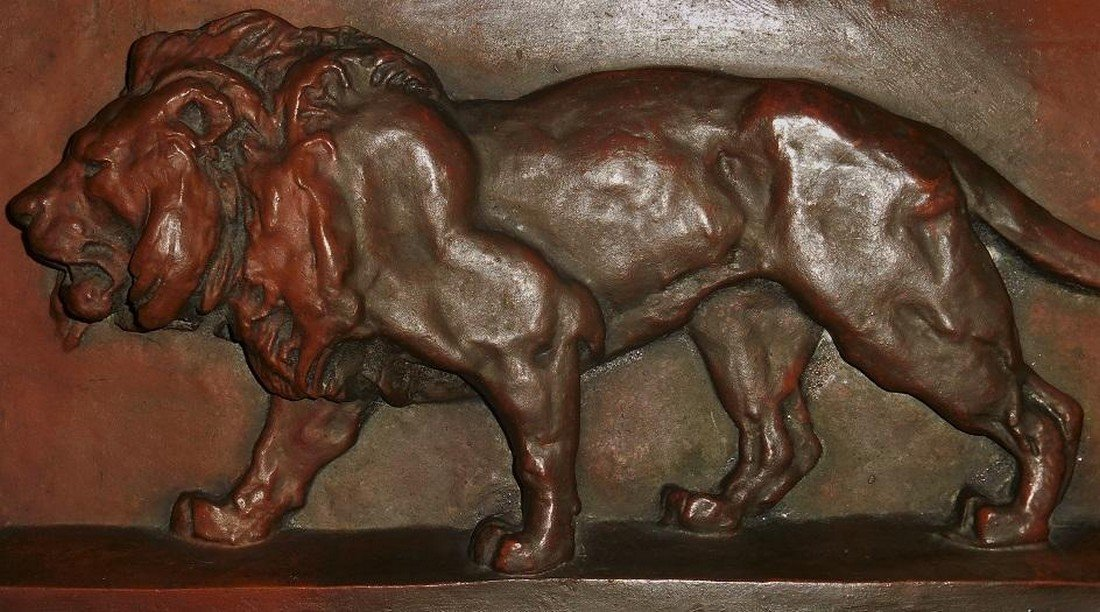 Big Antique French Bronze Lion Plaque by Barye - 4