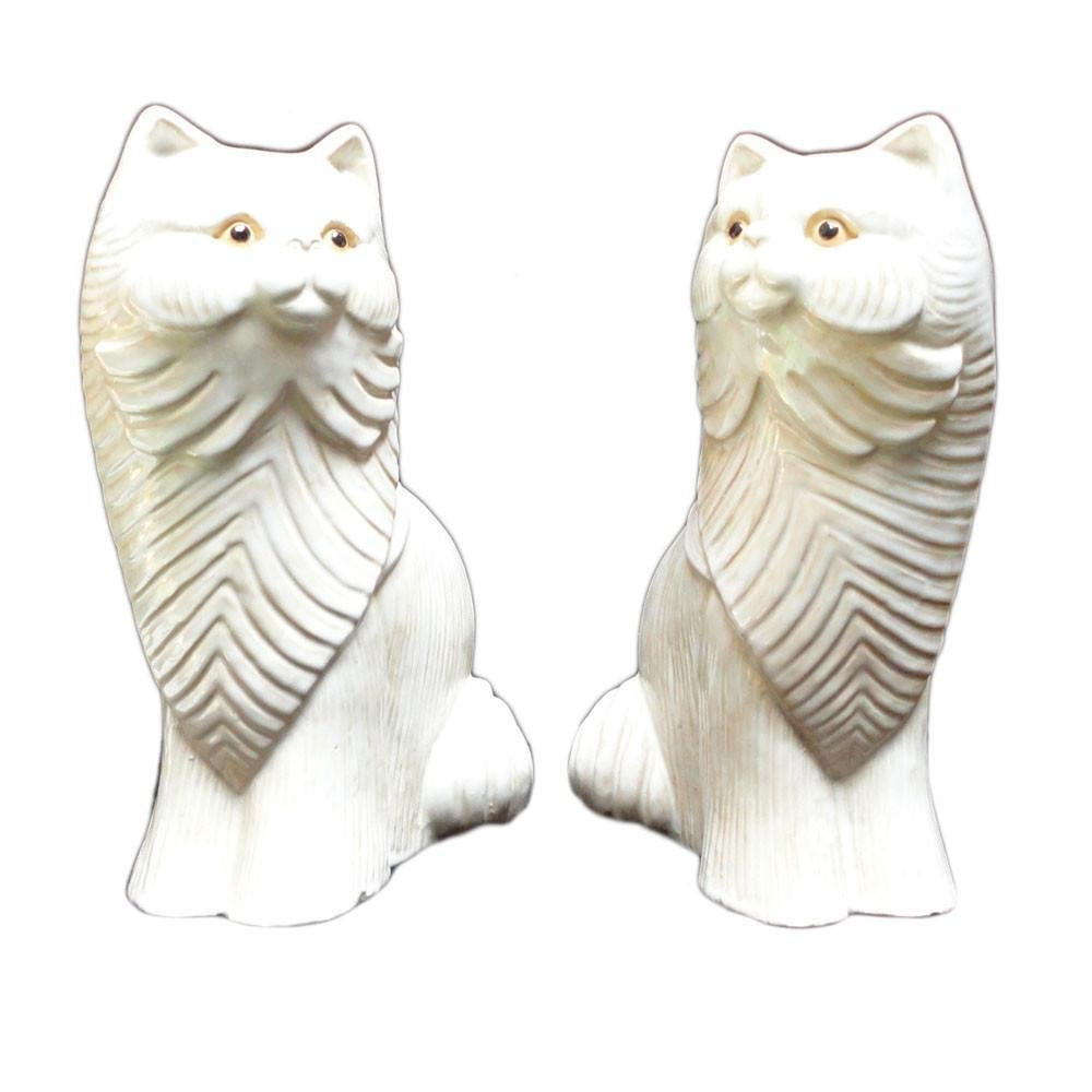 Pair Off White Ceramic Cat Figures