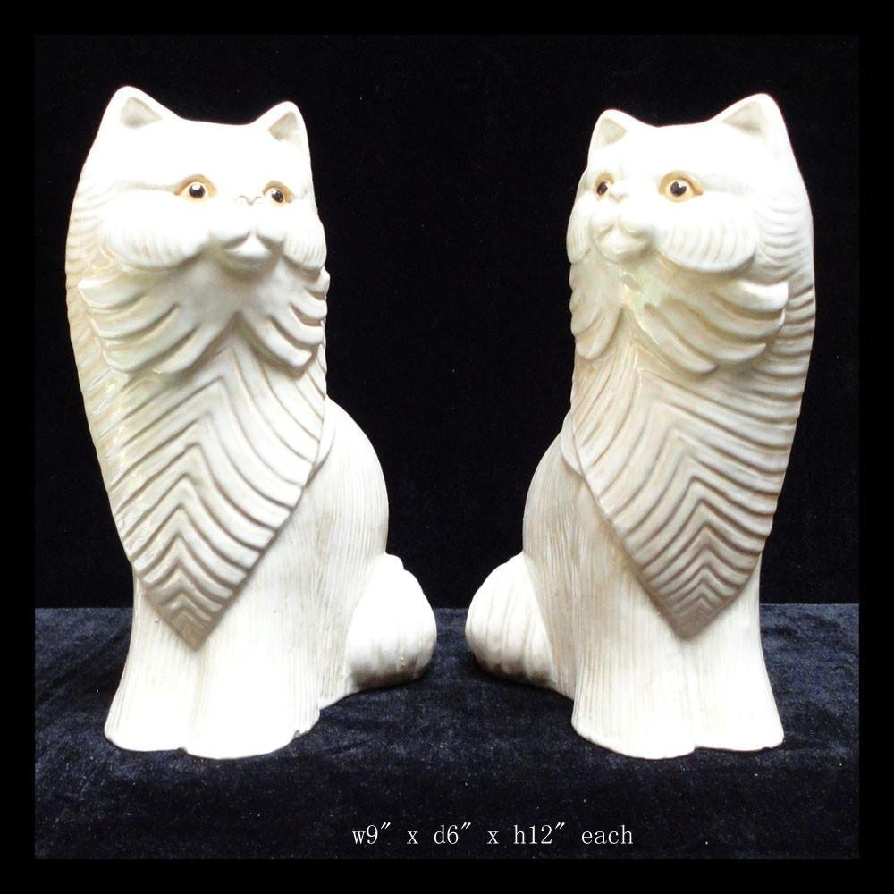 Pair Off White Ceramic Cat Figures - 2