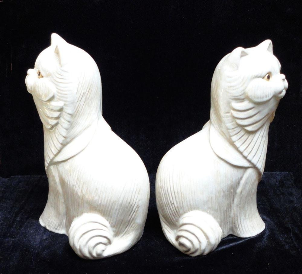 Pair Off White Ceramic Cat Figures - 3