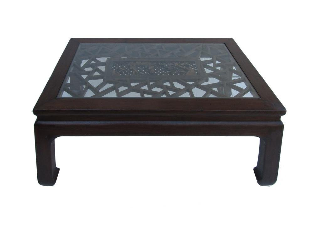 Chinese Recetangular Carved Panel Glass Coffee Table