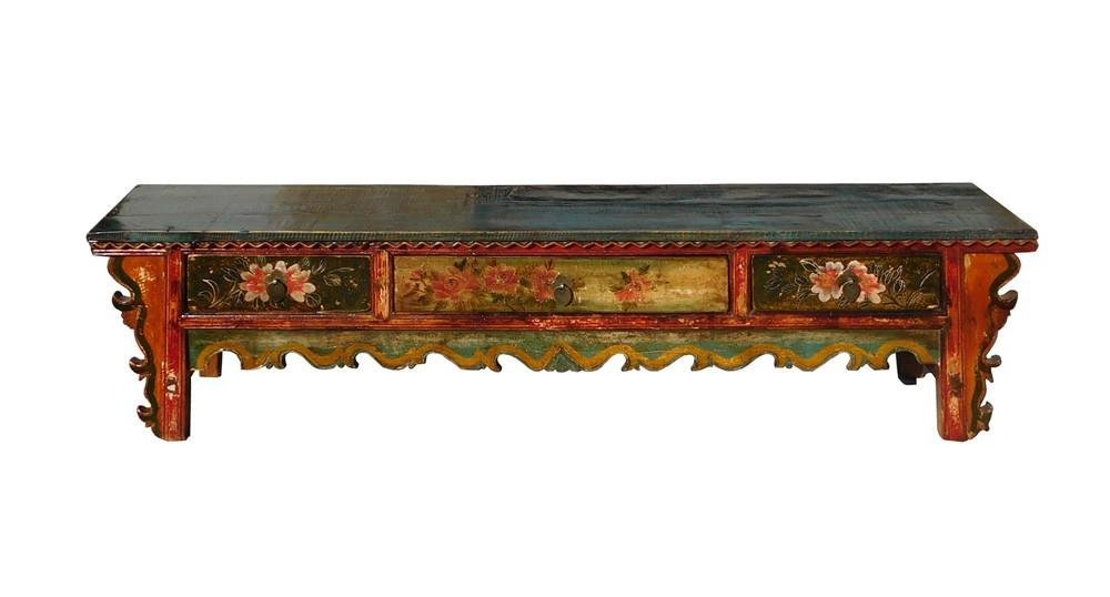 Chinese Vintage Floral Low Altar Shrine Table