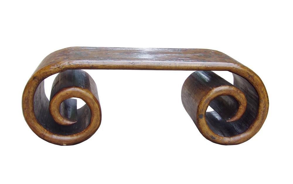 Chinese Tibetan Wood Scroll Coffee Table