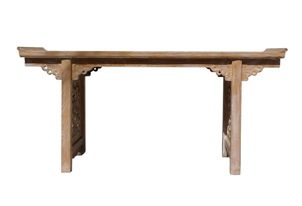 Chinese Raw Wood Altar Carving Apron Console Side Table