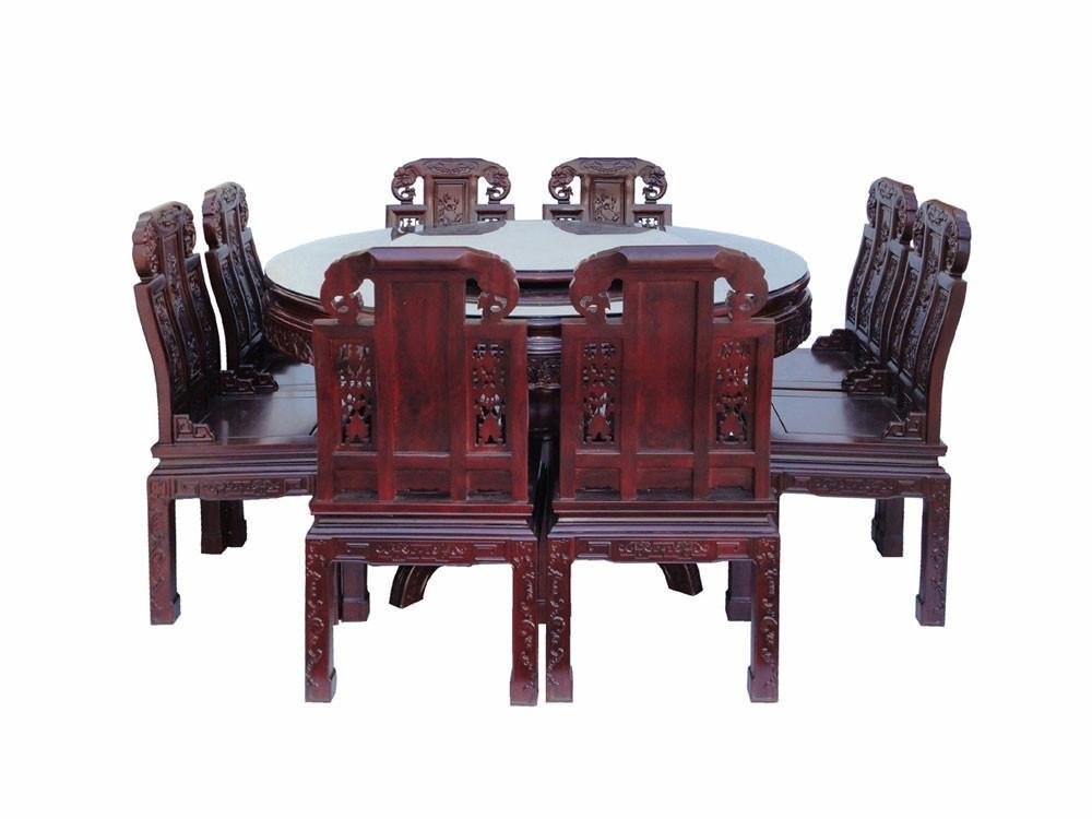 Chinese Red Rosewood Round Dining Table Set