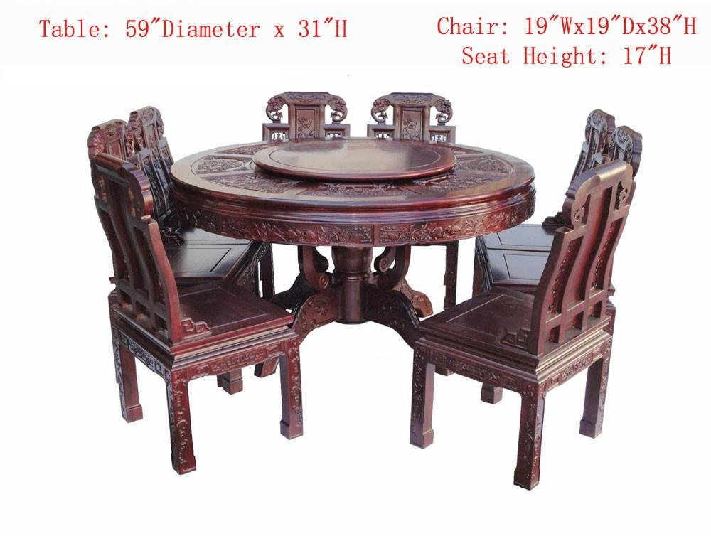 Chinese Red Rosewood Round Dining Table Set - 2
