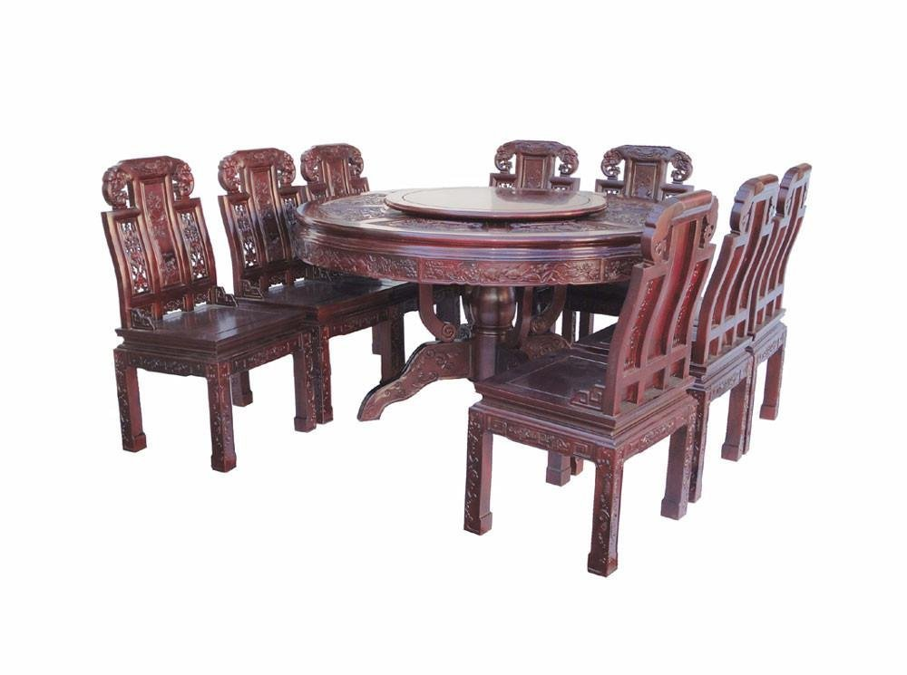 Chinese Red Rosewood Round Dining Table Set - 3
