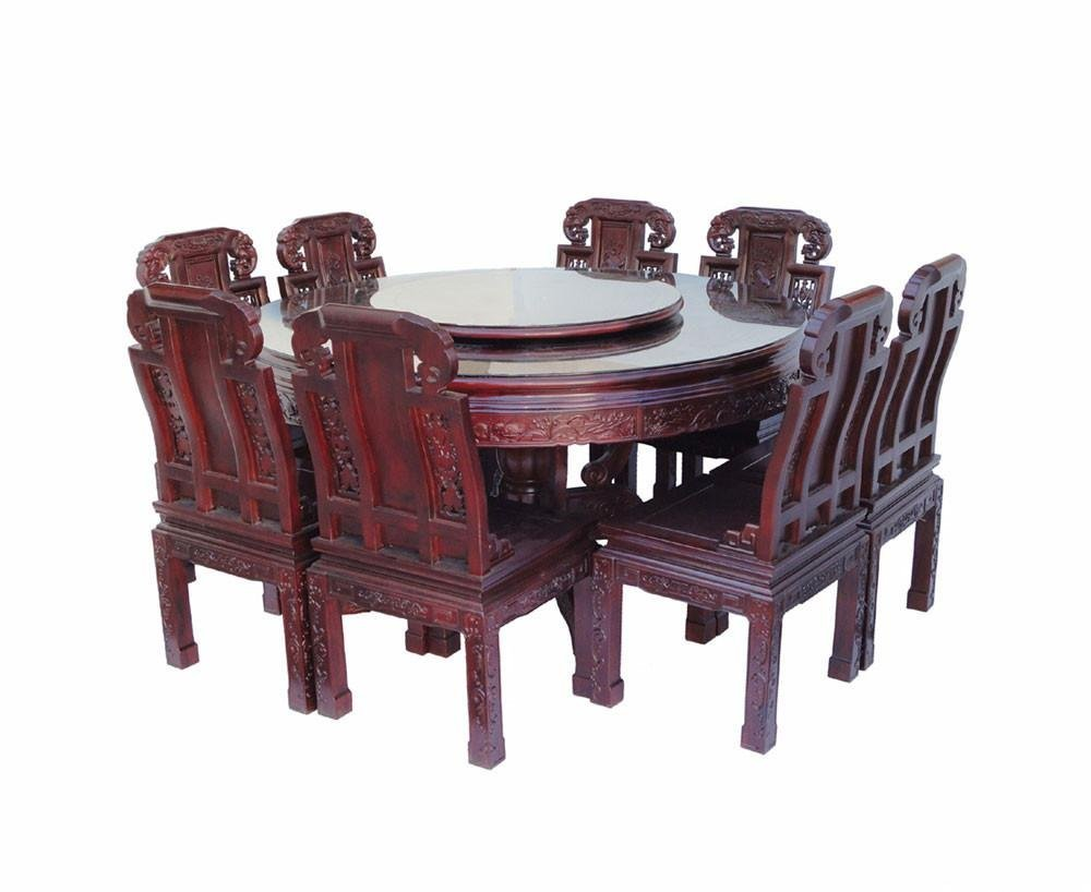 Chinese Red Rosewood Round Dining Table Set - 4