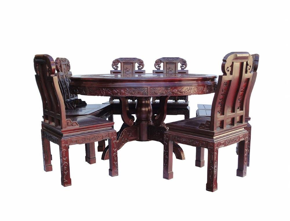 Chinese Red Rosewood Round Dining Table Set - 5