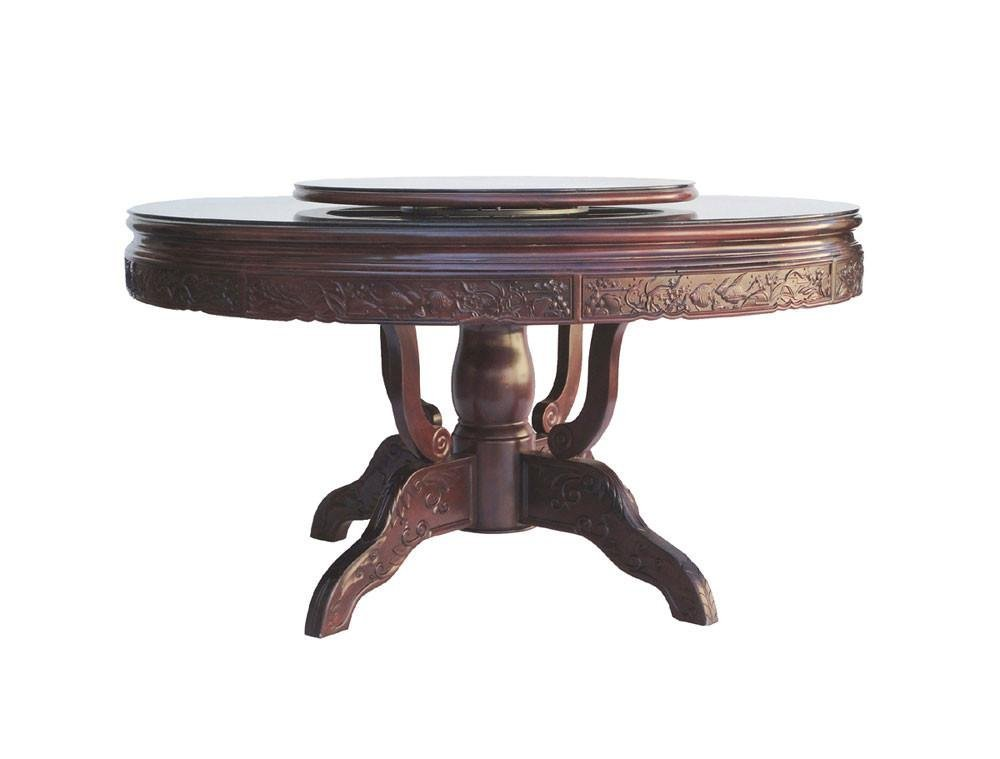 Chinese Red Rosewood Round Dining Table Set - 6