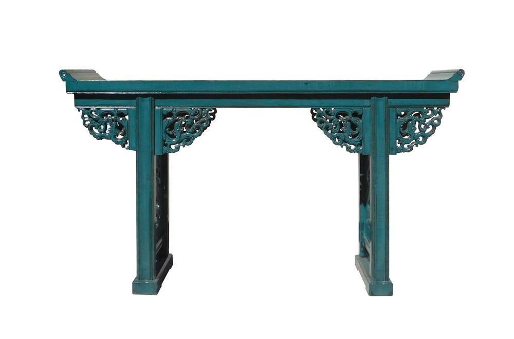 Chinese Blue Dragon Motif Apron Altar