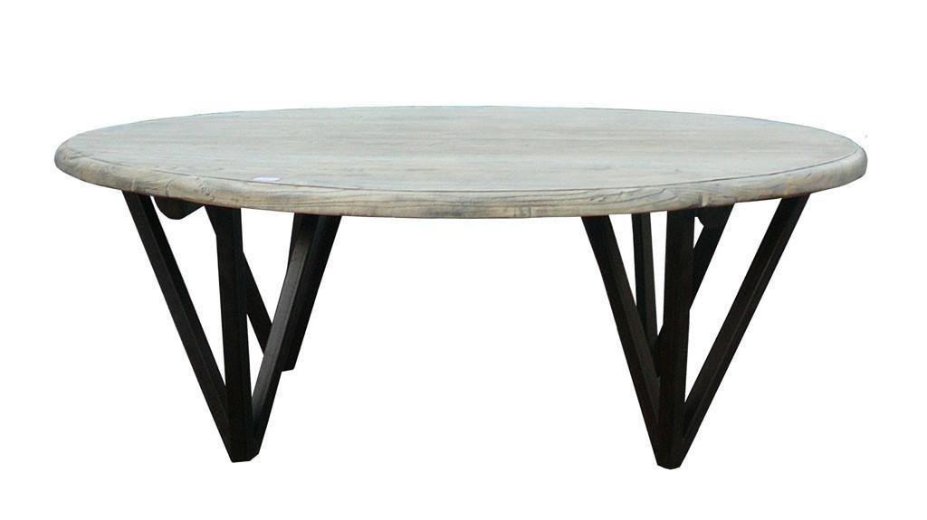 Classic Solid Low Round Wood Natural Color Coffee Table