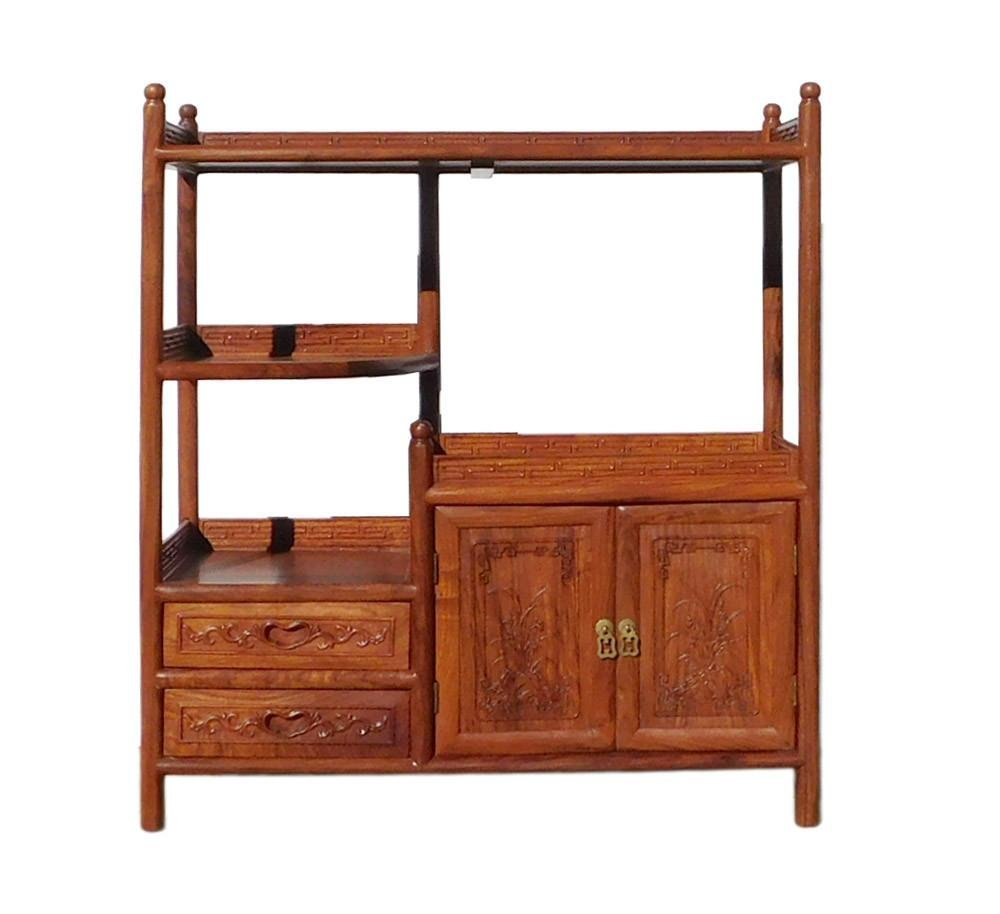 Chinese Huali Rosewood Display Cabinet Side Table