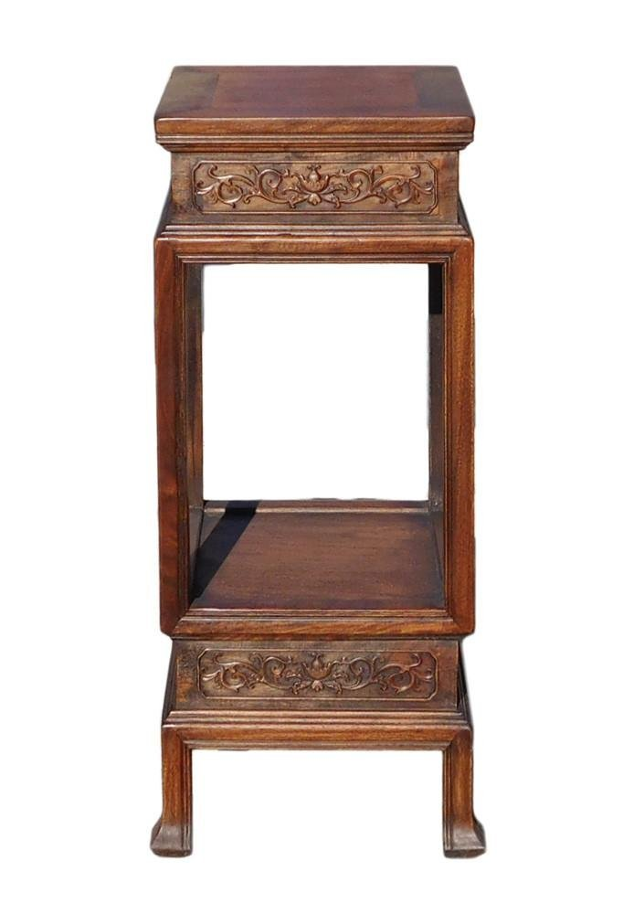 Chinese Huali Rosewood Square Plant Stand Side Table