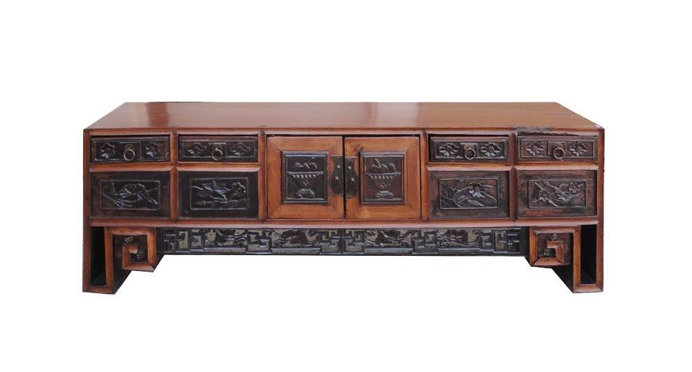Chinese Vintage Flower Carving Jewelry Cabinet