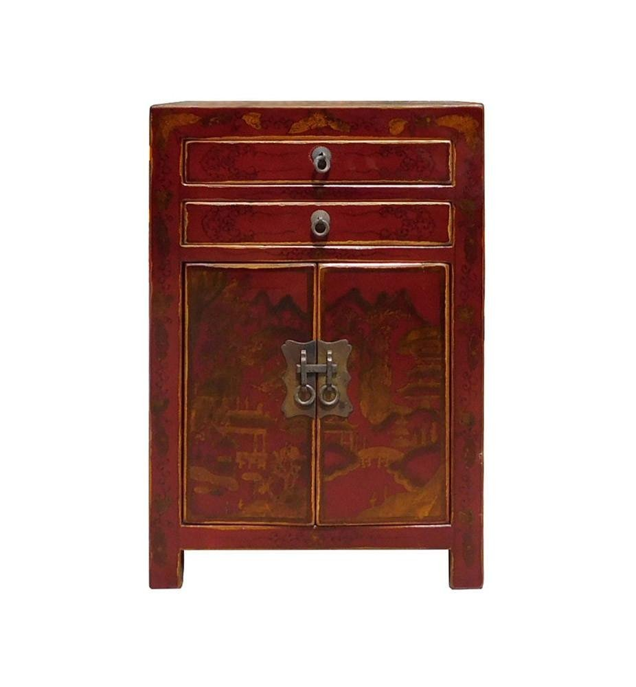 Red Scenery Nightstand End Table, China