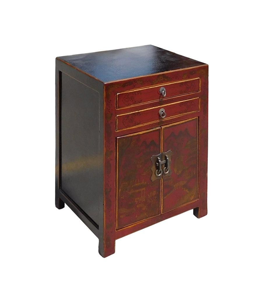 Red Scenery Nightstand End Table, China - 2