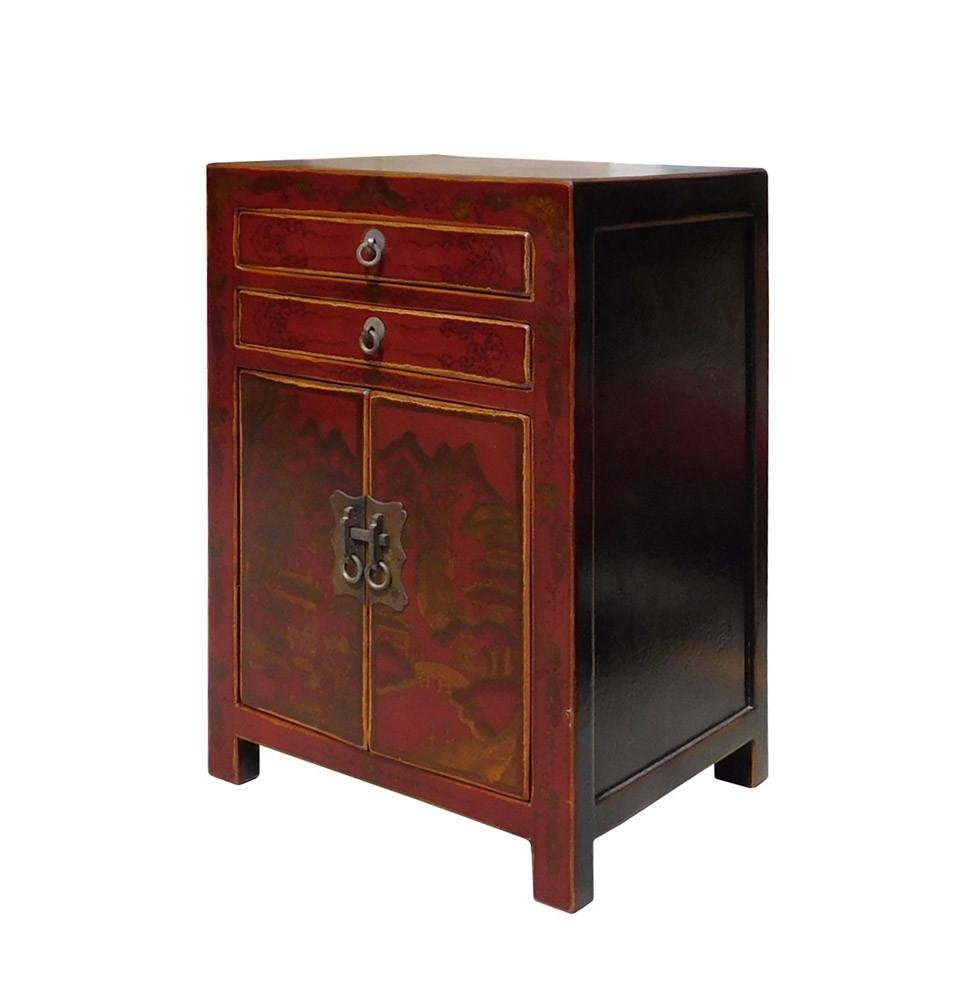 Red Scenery Nightstand End Table, China - 3