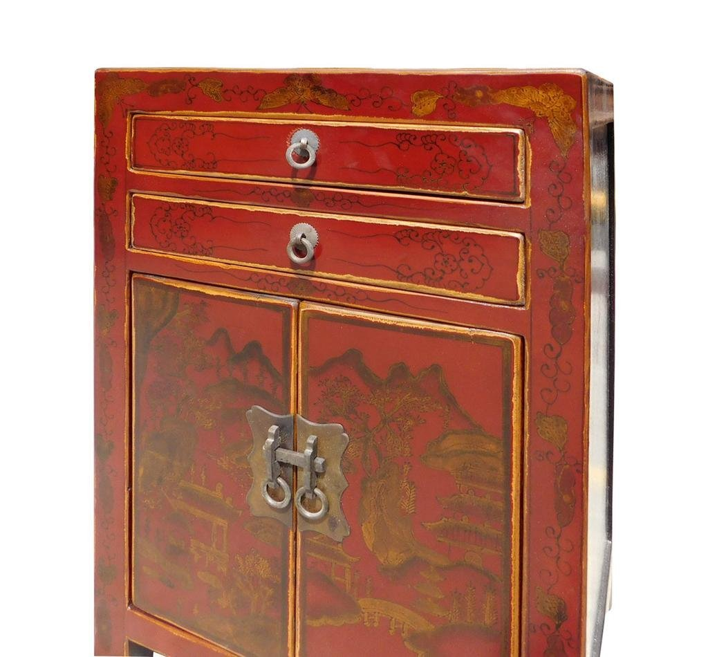 Red Scenery Nightstand End Table, China - 4