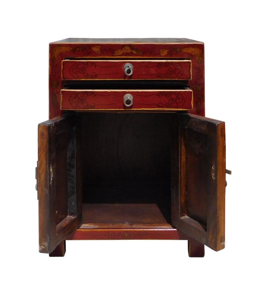 Red Scenery Nightstand End Table, China - 5