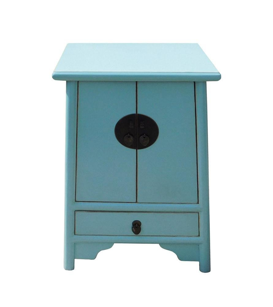 Light Blue Oriental Nightstand End Table, China - 2