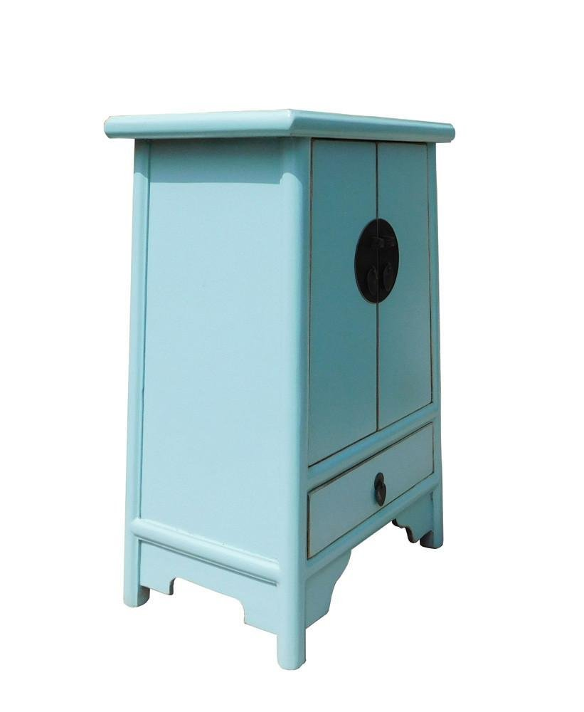 Light Blue Oriental Nightstand End Table, China - 3