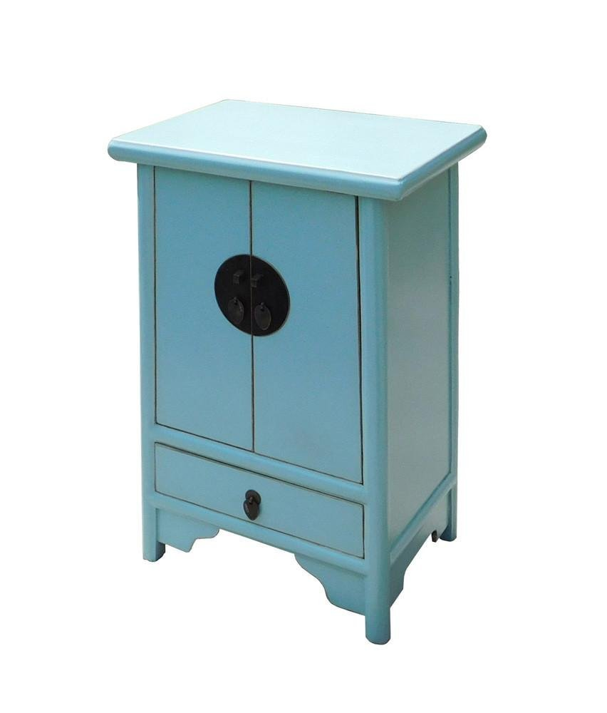 Light Blue Oriental Nightstand End Table, China - 4