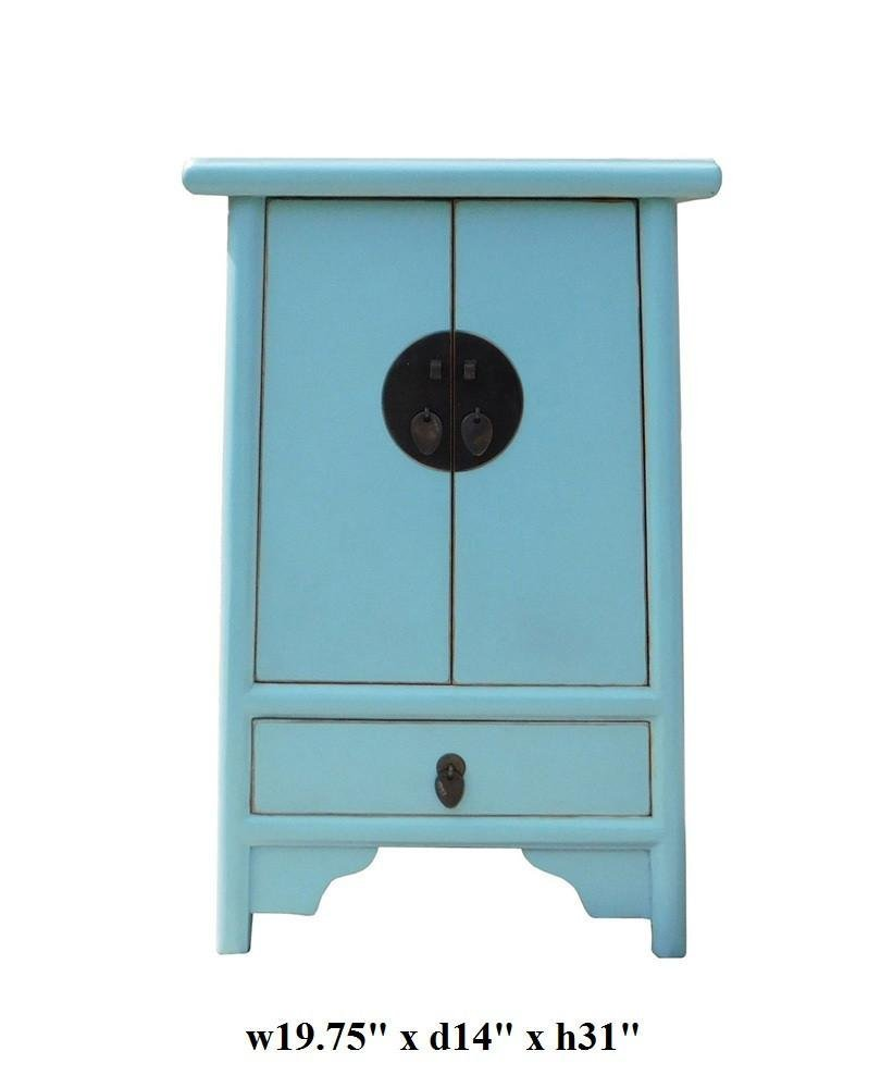 Light Blue Oriental Nightstand End Table, China - 6
