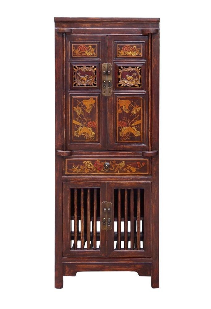Wood Cabinet with Relief Carving, China