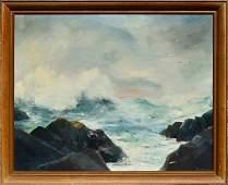 """Surf"" (Sea Girt, NJ), o/c, signed Ruth Vail LR"