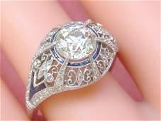 ANTIQUE EDWARDIAN DECO 1.7ct MINE DIAMOND SAPPHIRE