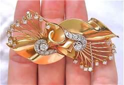 ANTIQUE RETRO 2.25ct DIAMOND DOUBLE CLIP BROOCH 1940