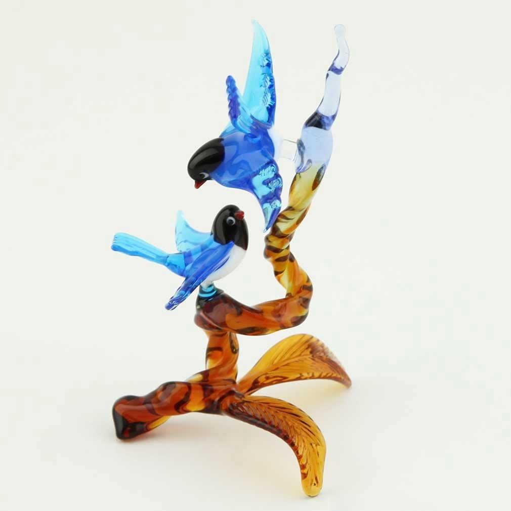 Murano Glass Birds on Amber Branch - Blue