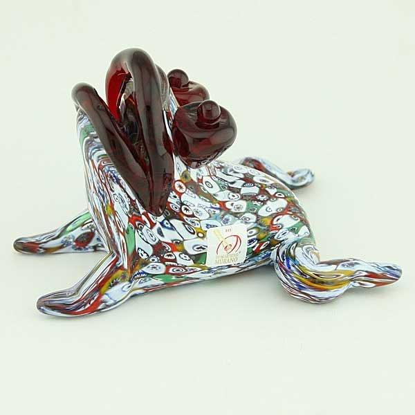 Murano Art Glass Millefiori Frog Sculpture