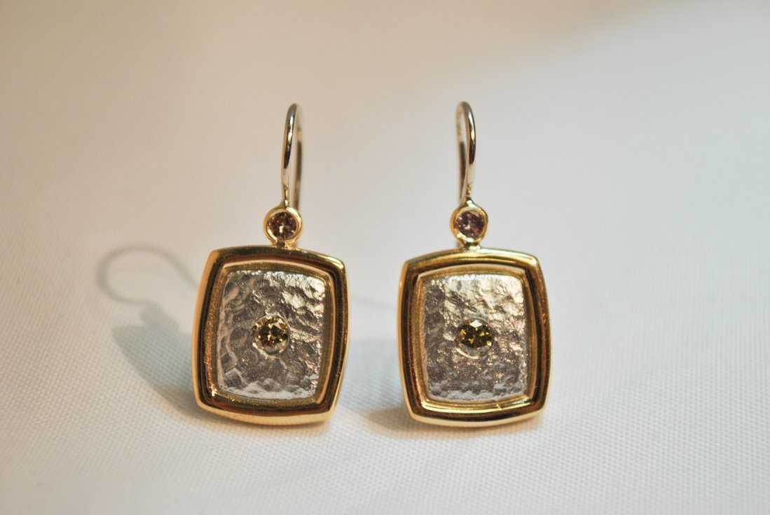 18K Gold Platinum Pink and Green Diamond Earrings